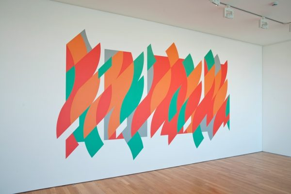 Bridget Riley Curves Wall Painting 2015 at Bexhill on Sea