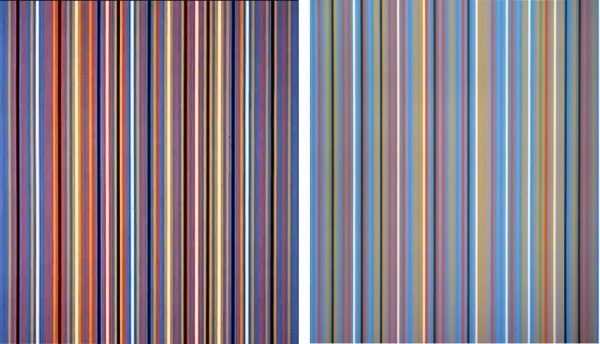 Bridget Riley ra-two1981 (Left) and Big Blue 1982 (Right)
