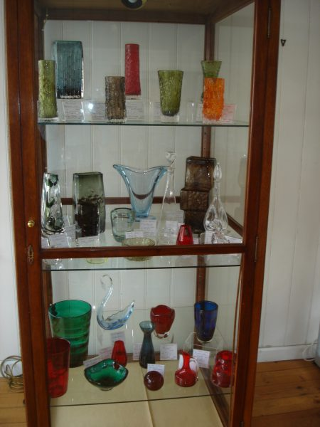 The Whitefriars Glass cabinet at 'Glass etc'