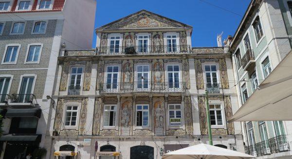 Azulejo (hand painted tin-glazed ceramic) tiles in the Rua da Trindade, Lisbon