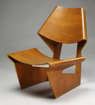 Moulded plywood chair, designed by Grete Jalk, 1963 photo Victoria and Albert Museum.