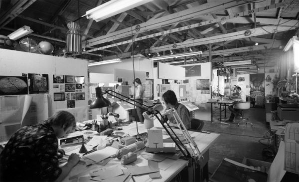 Flat drafting in the office of Charles and Ray Eames, 1970
