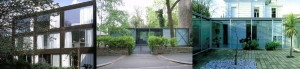 Left: John Winter Cor-Ten House, Highgate, London 1967-69 Centre: Michael Hopkins Hopkins House, Hampstead, London 1976 Right: Spence and Webster, Courtyard Houses, Belsize Park, London 1978