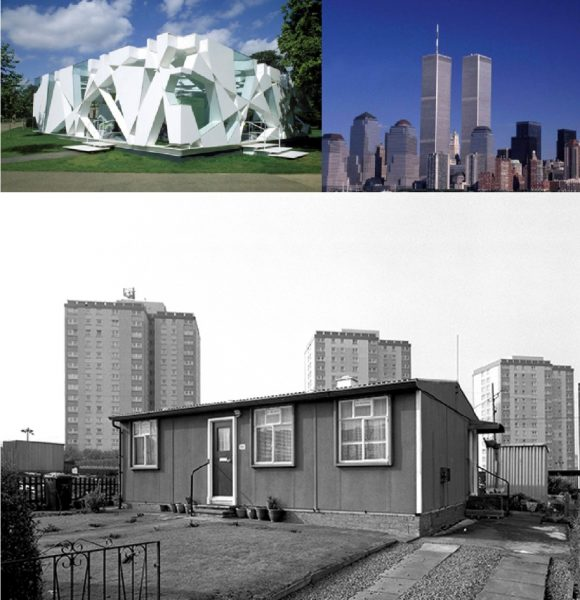 Top left - Serpentine Gallery Pavilion 2002 by Toyo Ito Top right - World Trade Centre by Minoru Yamasaki Above - Post war 'prefab' bungalow